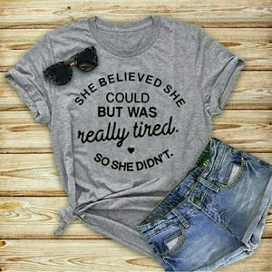 Tops - Womens New Gray Funny Graphic Tee